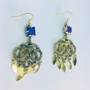 New! Holographic Rhinestones Feather Boho Earrings